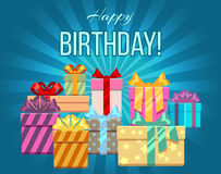 Happy birthday greeting card with a heap of gift boxes Royalty Free Stock Images