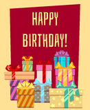 Happy birthday greeting card with a heap of gift boxes. Happy greeting banner for celebration, vector illustration stock illustration