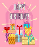 Happy birthday greeting card with a heap of gift boxes. Package gift to holiday, vector illustration Royalty Free Stock Images