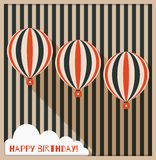 Happy Birthday Greeting Card With Hot Air Balloons, Background Made Of Stripes And White Cloud. Happy Birthday Greeting Card With Hot Air Balloons, Background Royalty Free Stock Images