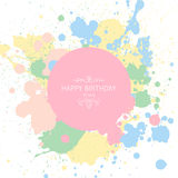 Happy Birthday Greeting Card. Illustration of a Happy Birthday Greeting Card with Pastel Paint Splashes Stock Photography