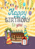 Happy Birthday greeting card or invitation Stock Images