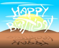 Happy Birthday Greeting card with landscape. A birthday card for her birthday with a colorful background that resembles a natural landscape Royalty Free Stock Photos