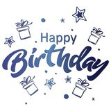 Happy birthday greeting card. Lettering blue isolated illustration on white backgound. With presents Royalty Free Stock Photography