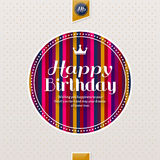 Happy birthday greeting card, lettering on colorful stripes background. Vector illustration. Royalty Free Stock Images
