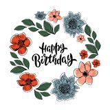 Happy Birthday greeting card with lettering design royalty free illustration
