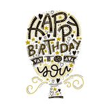 Happy birthday greeting card lettering. Hand drawn invitation. Typography background. Celebration text. Handwriting. Poster. Congratulation phrase. Vector vector illustration