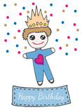 Happy birthday greeting card with llittle prince toy on crone Stock Photography