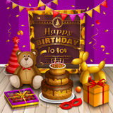 Happy birthday greeting card. Lots of presents and toys. Party hats, teddy bear, cake, dog balloon, box of chocolates Royalty Free Stock Photography