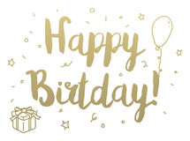Happy Birthday. Greeting card with modern calligraphy and hand drawn elements. Isolated typographical concept Stock Photo
