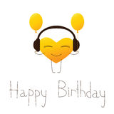 Happy birthday greeting card with musical heart. Golden colored cartoon heart character in headphones with balloons and lettering Happy Birthday in English royalty free illustration