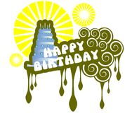 Happy birthday greeting card with cake isolated. Nice happy birthday greeting card with cake. An original idea usable also for labels or other projects Royalty Free Stock Images
