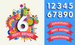 Happy birthday greeting card number set template. Happy birthday card template with vibrant color fun shapes. Includes number set, anniversary and Royalty Free Stock Photography