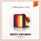 Happy birthday greeting card with open gift box and orange bow. Vector. Royalty Free Stock Images