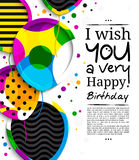 Happy birthday greeting card. Paper balloons with colorful borders. Drops color on background. Vector illustration. Royalty Free Stock Photo