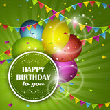 Happy Birthday greeting card. Party balloons, confetti and colorful flags. Vector illustration Royalty Free Stock Photos