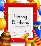 Happy birthday greeting card. Party balloons, red frame for your text, cake, gift box, confetti and ribbons. Vector. Stock Images