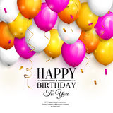 Happy birthday greeting card. Party colorful balloons, gold streamers, confetti and stylish lettering. Vector. Happy birthday greeting card. Party colorful Royalty Free Stock Photos