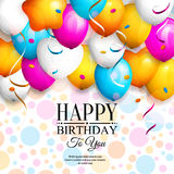 Happy birthday greeting card. Party colorful balloons, streamers, confetti and stylish lettering on dotted background Stock Images