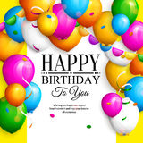 Happy birthday greeting card. Party colorful balloons, streamers, confetti and stylish lettering on dotted background Royalty Free Stock Photography