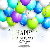 Happy birthday greeting card. Party colorful balloons, streamers, confetti and stylish lettering. Vector. Royalty Free Stock Photography