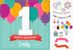 Happy Birthday greeting card with party elements Stock Images