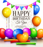 Happy birthday greeting card. Party multicolored balloons, bunting flags and stylish lettering. Vector. Happy birthday greeting card. Party multicolored Royalty Free Stock Photo