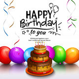 Happy birthday greeting card. Party multicolored balloons, cake, streamers and stilish lettering. Vector. Stock Images