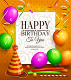 Happy birthday greeting card. Party multicolored balloons, hat, colorful streamers and stylish lettering on dotted background Royalty Free Stock Photos