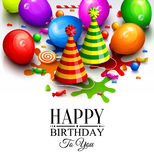 Happy birthday greeting card. Party multicolored balloons, hat, paint splashes, candy, lollipop and stylish lettering Royalty Free Stock Image