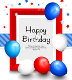Happy birthday greeting card. Party multicolored balloons, red frame for your text, blue ribbon on background. Vector. Happy birthday greeting card. Party Royalty Free Stock Photography
