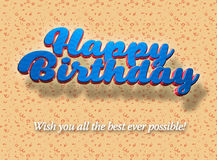 Happy birthday greeting card for a party with wishes. Wish all the best to your friends and family stock illustration