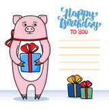 Happy birthday greeting card with pig holding a gift Stock Images