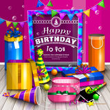 Happy birthday greeting card. Pile of colorful wrapped gift boxes. Lots of presents. Party hats, photo frames, soap. Bubbles, playing ball and colorful frame stock illustration