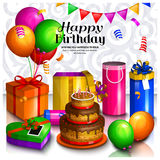 Happy birthday greeting card. Pile of colorful wrapped gift boxes. Lots of presents and toys. Party balloons, bunting Royalty Free Stock Photo