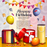 Happy birthday greeting card. Pile of colorful wrapped gift boxes. Lots of presents and toys. Party balloons, playing Stock Photo