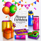 Happy birthday greeting card. Pile of colorful wrapped gift boxes. Party balloons, box chocolates, bunting flag and Royalty Free Stock Photo