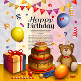 Happy birthday greeting card. Pile of colorful wrapped gift boxes. Party balloons, playing ball, bunting flag, teddy Royalty Free Stock Photography