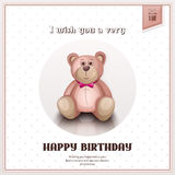 Happy birthday greeting card with pink teddy bear. Vector. Stock Photography