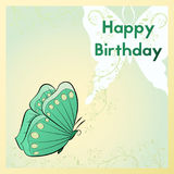 Happy Birthday greeting card. The postcard is with a butterfly and plants.   Royalty Free Stock Photos