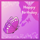 Happy Birthday greeting card. The postcard is decorated with a butterfly and leaves. The template for congratulations on the occas Stock Images