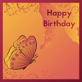 Happy Birthday greeting card. The postcard is decorated with an orange butterfly and leaves. Design birth template. Stock Photography