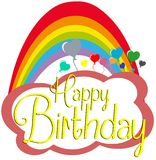 Happy birthday greeting card with rainbow. Nice happy birthday greeting card with ballons that flies in a sky with rainbow Royalty Free Stock Photo