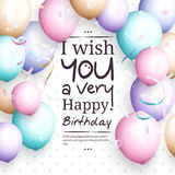 Happy birthday greeting card. Retro vintage pastel party balloons, streamers, and stylish lettering. Vector. Happy birthday greeting card. Retro vintage pastel Royalty Free Stock Images