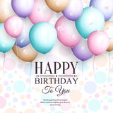 Happy birthday greeting card. Retro vintage pastel party balloons, streamers, and stylish lettering. Vector. Happy birthday greeting card. Retro vintage pastel Royalty Free Stock Photos