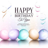 Happy birthday greeting card. Retro vintage pastel party balloons, streamers, and stylish lettering. Vector. Happy birthday greeting card. Retro vintage pastel Royalty Free Stock Photography