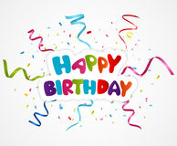 Happy birthday greeting card with ribbon Stock Photo