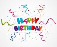 Happy birthday greeting card with ribbon Stock Photo