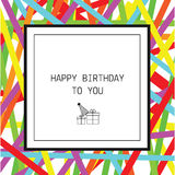 Happy Birthday greeting card with ribbons and line icons Royalty Free Stock Photo