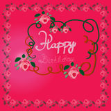 Happy birthday greeting card with roses.Vector illustration for your pretty design. Pink, white and green colors. Royalty Free Stock Photography